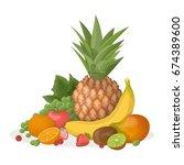 fruits composition illustration. | Shutterstock .eps vector #674389600