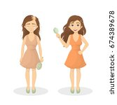 woman's hair loss. | Shutterstock .eps vector #674389678