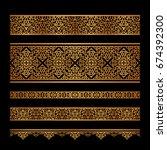set of vintage gold borders ...   Shutterstock .eps vector #674392300