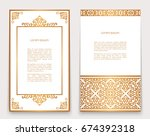 vintage gold frames with swirly ...   Shutterstock .eps vector #674392318