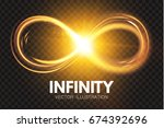 gold shining infinity symbol.... | Shutterstock .eps vector #674392696