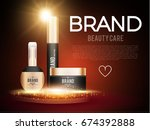 cosmetics poster template with... | Shutterstock .eps vector #674392888