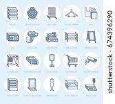retail store supplies line... | Shutterstock .eps vector #674396290
