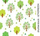 green trees seamless pattern | Shutterstock .eps vector #674398354