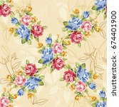 seamless floral pattern with... | Shutterstock .eps vector #674401900