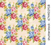seamless floral pattern with... | Shutterstock .eps vector #674401918