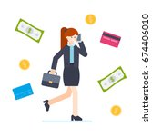 businesswoman goes to work in... | Shutterstock .eps vector #674406010