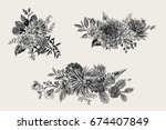 summer and autumn set floral... | Shutterstock .eps vector #674407849