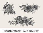 Stock vector summer and autumn set floral bouquets dahlias ruscus viburnum ranunculus modern floristics 674407849