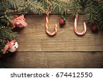 christmas tree branch  candy... | Shutterstock . vector #674412550