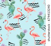watercolor pink flamingo and... | Shutterstock . vector #674413240