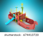 playground for children ship... | Shutterstock . vector #674413720
