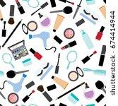 makeup pattern background... | Shutterstock .eps vector #674414944
