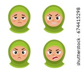 little arab girl with hijab... | Shutterstock .eps vector #674415298
