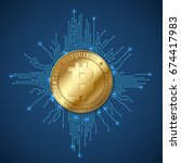 crypto currency bitcoin. net...   Shutterstock .eps vector #674417983
