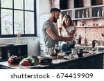 recipe requires a lot of loving.... | Shutterstock . vector #674419909