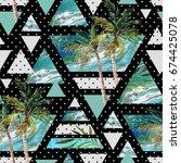 abstract summer geometric... | Shutterstock . vector #674425078