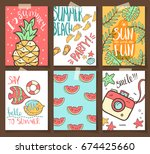 vector collection of summer... | Shutterstock .eps vector #674425660
