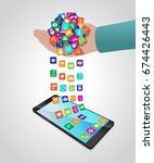 hand loads and installs apps in ... | Shutterstock .eps vector #674426443
