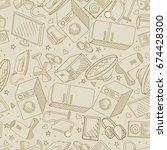 electronics retro seamless... | Shutterstock .eps vector #674428300