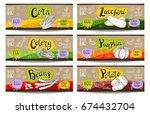 set of colorful labels sketch... | Shutterstock .eps vector #674432704