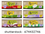 set of colorful labels sketch... | Shutterstock .eps vector #674432746