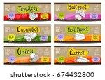 set of colorful labels sketch... | Shutterstock .eps vector #674432800