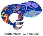 vector illustration of whale ... | Shutterstock .eps vector #674432950