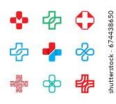 medical cross logo design... | Shutterstock .eps vector #674438650