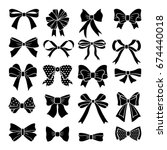 monochrome vector bows and... | Shutterstock .eps vector #674440018
