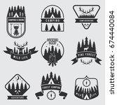 outdoor camping labels set.... | Shutterstock .eps vector #674440084