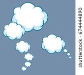 vector cartoon thinking clouds... | Shutterstock .eps vector #674444890