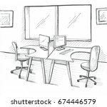 open space office. workplaces... | Shutterstock . vector #674446579