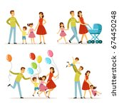 big family. father  pregnant... | Shutterstock .eps vector #674450248