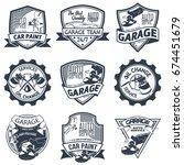 set of nine auto repair logo... | Shutterstock .eps vector #674451679