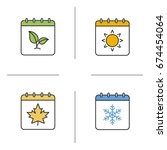 Seasons Calendar Color Icons...