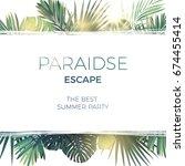 green summer tropical... | Shutterstock .eps vector #674455414