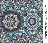 pattern with mandalas. vintage... | Shutterstock .eps vector #674458624
