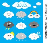 cloud emoji icon set. white... | Shutterstock .eps vector #674458810