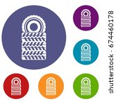 pile of tires icons set in flat ...   Shutterstock .eps vector #674460178