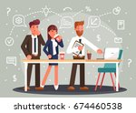 brainstorming creative team... | Shutterstock .eps vector #674460538