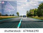 autonomous self driving car is... | Shutterstock . vector #674466190