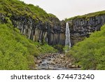 famous icelandic svartifoss... | Shutterstock . vector #674473240