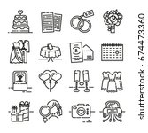 set line icon for wedding. the... | Shutterstock .eps vector #674473360