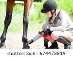 teenage equestrian girl in... | Shutterstock . vector #674473819