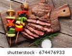 beef steak and grilled... | Shutterstock . vector #674476933