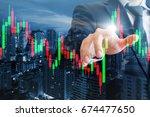 double exposure of professional ... | Shutterstock . vector #674477650