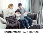 father and mother teaching... | Shutterstock . vector #674480728