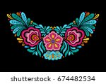 embroidered neckline design.... | Shutterstock .eps vector #674482534