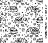 tribal vector seamless pattern... | Shutterstock .eps vector #674486119